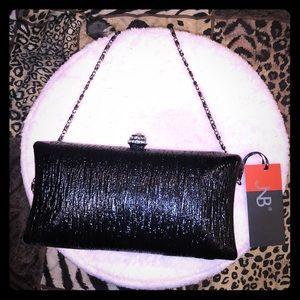 🌸Black clutch with rhinestone clasp